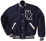 Wool sleeve varsity letterman jacket